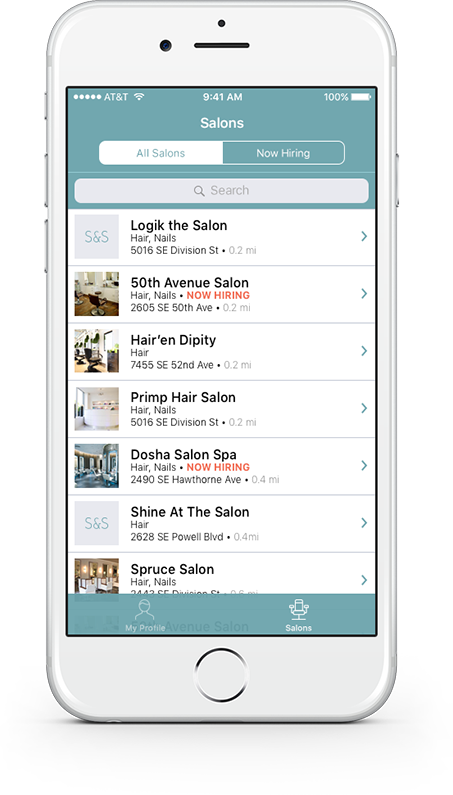 Salon&Savvy app, salon list view