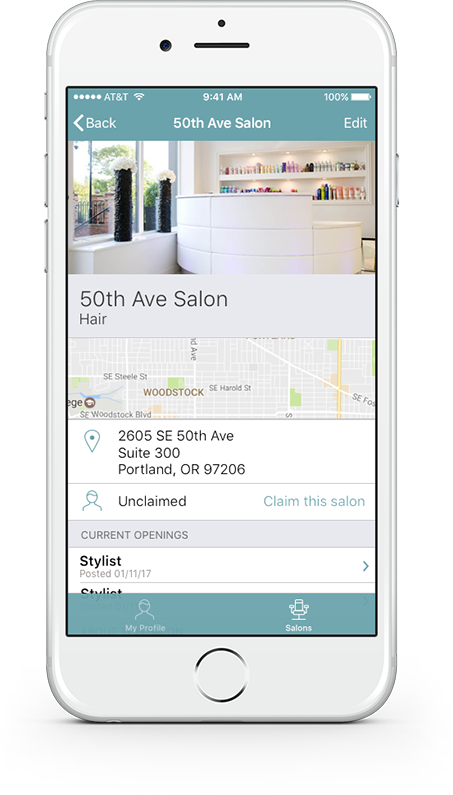 Salon&Savvy app, salon detail view