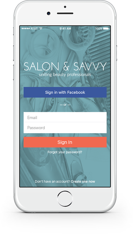 Salon&Savvy app, sign in view