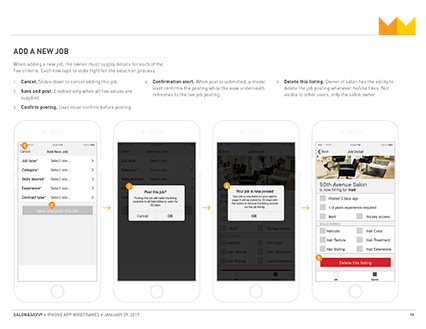 Salon&Savvy Wireframe excerpt, select dashboard