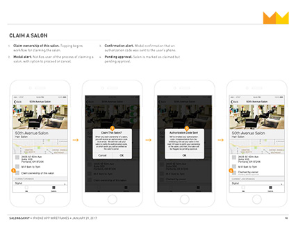 Salon&Savvy Wireframe excerpt, reorder views