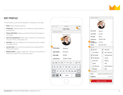 Salon&Savvy wireframe excerpt, edit profile