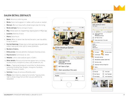Salon&Savvy Wireframe excerpt, salon detail view